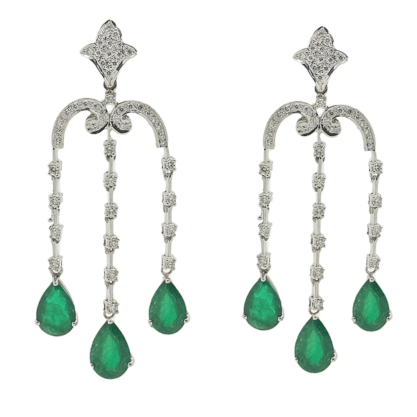 Emerald & Diamond Chandelier Earrings - Item # HM0038 - Reliable Gold Ltd.